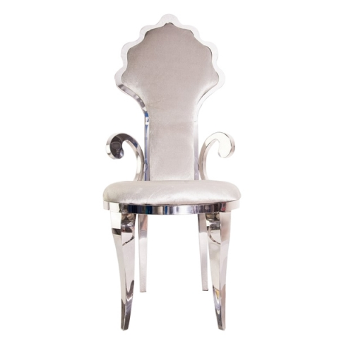Velvet Padded Silver Chairs for Sale